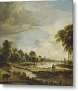 A River Landscape With Figures And Cattle Metal Print