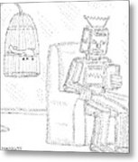 A Robot Sits Reading In A Chair Metal Print