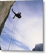 A Rock Climber On Washington Column Metal Print