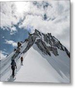 A Rope Team Climbs A Ridge Metal Print