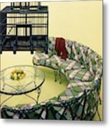 A Round Couch And A Birdcage Metal Print
