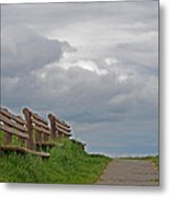 A Row Of Benches In Gloucester Ma Metal Print