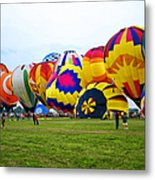 A Row Of Hot Air Balloons Left Side Metal Print