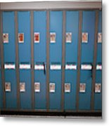 A Row Of Lockers In A School Hallway Metal Print