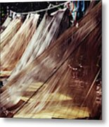 A Row Of Mosquito Netting Over Sleeping Metal Print