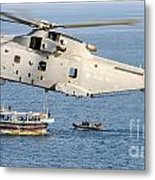 A Royal Navy Merlin Helicopter  Metal Print