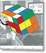 A Rubik's Cube Is Seen In A Psychiatrist's Office Metal Print by Gahan Wilson
