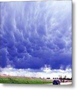 A Rural Nebraska Highway And Magnificent Sky Metal Print
