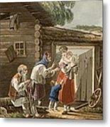 A Russian Peasant Family, 1823 Metal Print