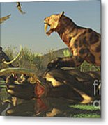 A Saber Tooth Cat Attacks A Woolly Metal Print