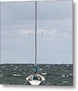 A Sail Boat Docked On Lake Michigan Metal Print