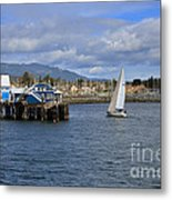 A Sailing Yacht Passes The Wharf In Sidney Harbour Metal Print