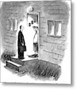 A Salesman Comes To The Door Of A Disgruntled Metal Print