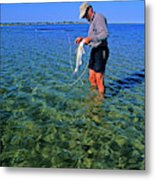 A Salt Water Fly Fisherman Catches Metal Print