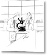 A Scientist Looking Into A Microscope Metal Print