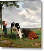 A Shepherdess With A Goat And Two Cows In A Meadow Metal Print