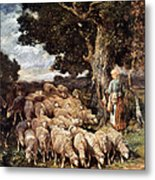 A Shepherdess With Her Flock Near A Stream Metal Print