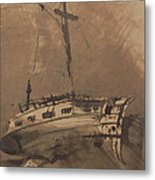 A Ship In Choppy Seas Metal Print