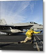 A Shooter Signals To Launch An Fa-18e Metal Print