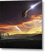 A Shuttle In The Process Of Landing Metal Print