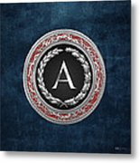 A - Silver Vintage Monogram On Blue Leather Metal Print