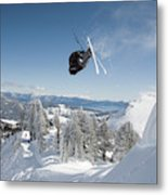 A Skier Doing A Front Flip Into Powder Metal Print