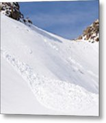 A Small Slab Avalanche With Two Guides Metal Print