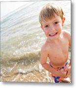 A Smiling Young Boy Enjoys A Sunny Metal Print