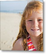 A Smiling Young Girl Enjoys A Sunny Metal Print