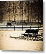 A Snow Covered Horse Farm Metal Print