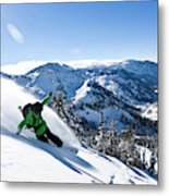 A Snowboarder Making Some Fresh Tracks Metal Print
