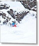 A Snowboarder Riding Through Powder Metal Print
