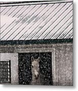 A Snowfall At The Stable Metal Print