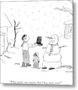 A Snowman Confronts A Mother Metal Print