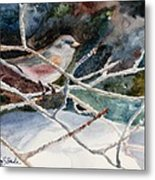 A Snowy Perch Metal Print