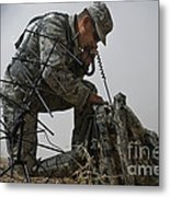 A Soldier Communicates Using A Metal Print