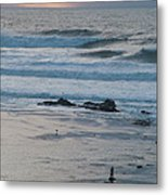 A Solitary Moment With Storm Waves At Mavericks Metal Print