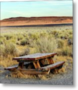 A Solitary Wooden Picnic Bench Metal Print