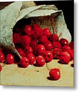 A Spilled Bag Of Cherries Metal Print