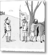 A Squire Looks At A Knight Whose Triangular Face Metal Print