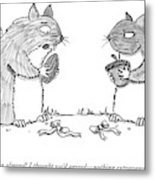 A Squirrel Couple Exchange Gifts Of An Acorn Metal Print