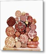 A Stack Of Sausages Metal Print