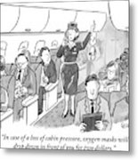 A Stewardess Is Holding Up An Oxygen Mask Metal Print