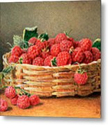 A Still Life Of Raspberries In A Wicker Basket  Metal Print