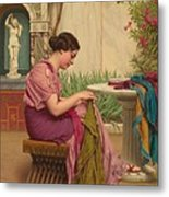 A Stitch Is Free Or A Stitch In Time 1917 Metal Print by John William Godward