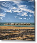 A Storm Barrier On Presque Isle Metal Print