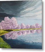 A Storm Over Cherry Trees Metal Print