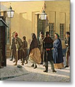A Street Scene, Outside A Prison, 1868 Oil On Canvas Metal Print