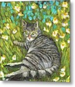 A Striped Cat On Floral Carpet Metal Print