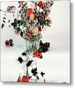A Studio Shot Of A Vase Of Flowers And A Garden Metal Print